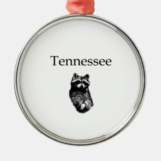 Tennessee Raccoon Round Metal Christmas Ornament