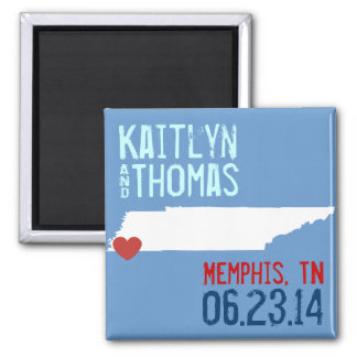 Tennessee Save the Date - Customizable City 2 Inch Square Magnet