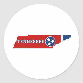 Tennessee State Flag and Map Classic Round Sticker
