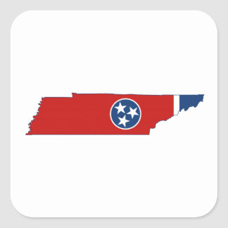 Tennessee State Flag and Map Square Sticker