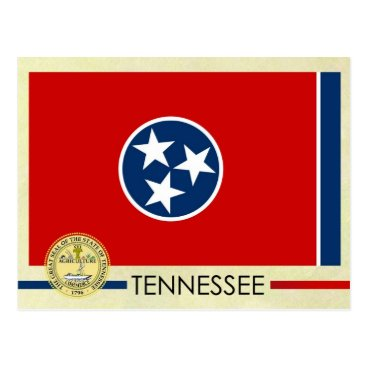 USA Themed Tennessee State Flag and Seal Postcard