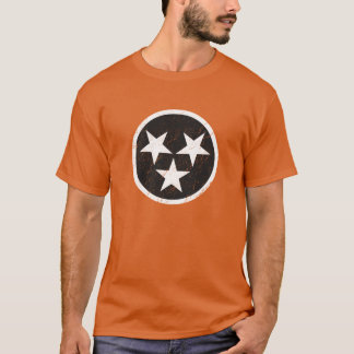 Tennessee State Flag Black & White Grunge T-Shirt
