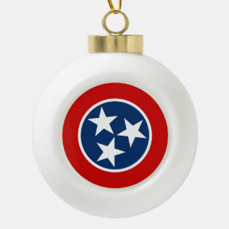 Tennessee State Flag Ceramic Ball Christmas Ornament