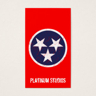 Tennessee State Flag Grunge Music Studio Business Card