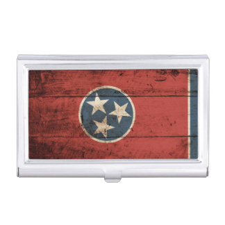 Tennessee State Flag on Old Wood Grain Business Card Case