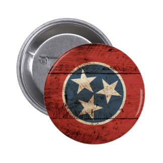 Tennessee State Flag on Old Wood Grain Button