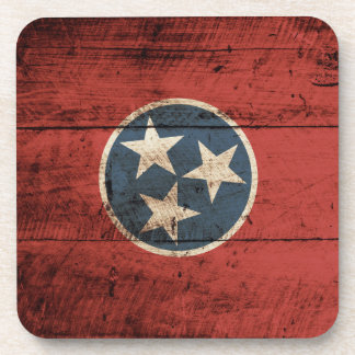 Tennessee State Flag on Old Wood Grain Coaster