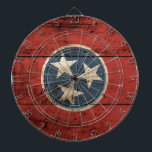 """Tennessee State Flag on Old Wood Grain Dartboard With Darts<br><div class=""""desc"""">Tennessee State Flag on Old Wood Grain Feel free to modify the design according to your own preferences. You may change the design location, orientation, background colors and size. Also, you may add your own text, or slogan set its font, location and size, all in order to create the ultimate...</div>"""