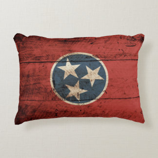 Tennessee State Flag on Old Wood Grain Decorative Pillow