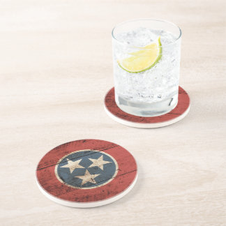 Tennessee State Flag on Old Wood Grain Drink Coaster