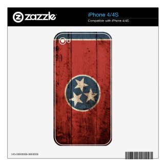 Tennessee State Flag on Old Wood Grain iPhone 4S Skin