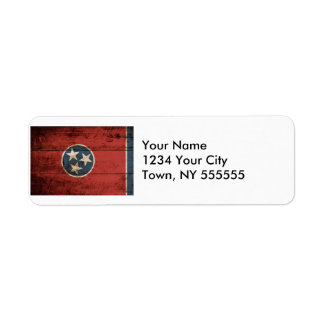 Tennessee State Flag on Old Wood Grain Label