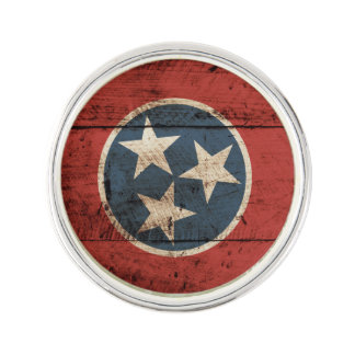 Tennessee State Flag on Old Wood Grain Lapel Pin