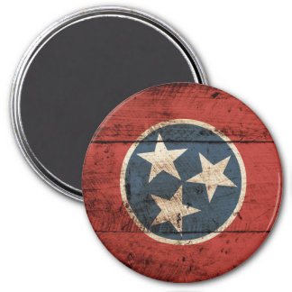 Tennessee State Flag on Old Wood Grain Magnet