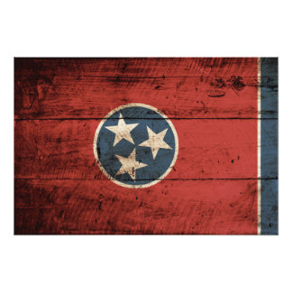 Tennessee State Flag on Old Wood Grain Photo Print