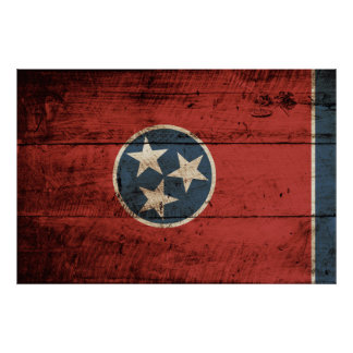Tennessee State Flag on Old Wood Grain Poster