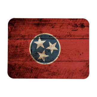 Tennessee State Flag on Old Wood Grain Rectangular Magnet