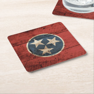 Tennessee State Flag on Old Wood Grain Square Paper Coaster