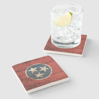 Tennessee State Flag on Old Wood Grain Stone Coaster