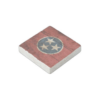 Tennessee State Flag on Old Wood Grain Stone Magnet