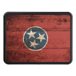 Tennessee State Flag on Old Wood Grain Tow Hitch Cover