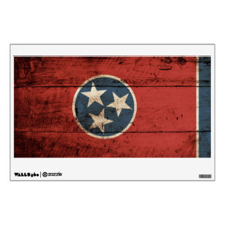 Tennessee State Flag on Old Wood Grain Wall Decal