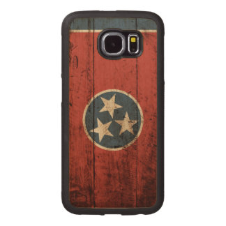 Tennessee State Flag on Old Wood Grain Wood Phone Case