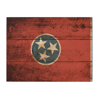 Tennessee State Flag on Old Wood Grain Wood Wall Decor