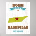 Tennessee State Map Art- Love  NashVille Art Print