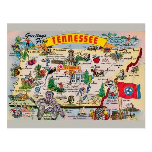 Tennessee State Map Postcard