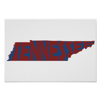 Tennessee State Name Word Art Red Poster