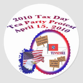 Tennessee Tax Day Tea Party Protest Classic Round Sticker