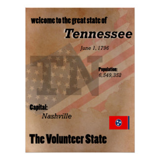 Tennessee The Volunteer State Classic Poster