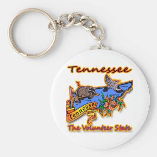 Tennessee The Volunteer State Racoon Flower Bird B Basic Round Button Keychain