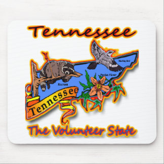 Tennessee The Volunteer State Racoon Flower Bird B Mouse Pad