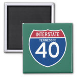 Tennessee TN I-40 Interstate Highway Shield - 2 Inch Square Magnet