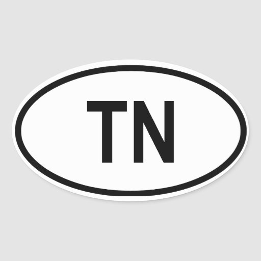 """Tennessee """"TN"""" Oval Stickers"""