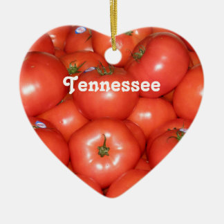 Tennessee Tomatoes Double-Sided Heart Ceramic Christmas Ornament