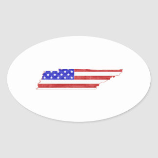 Tennessee USA flag silhouette state map Oval Sticker