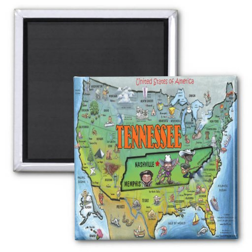 Tennessee USA Map 2 Inch Square Magnet