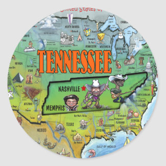Tennessee USA Map Classic Round Sticker