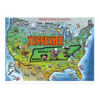 Tennessee USA Map Postcard