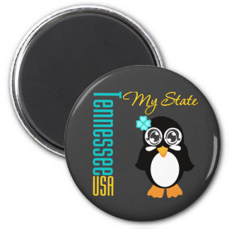 Tennessee USA Penguin 2 Inch Round Magnet