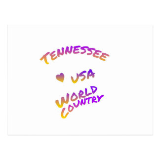 Tennessee usa world country, colorful text art postcard