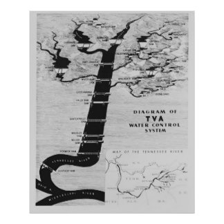 TENNESSEE VALLEY AUTHORITY MAP 1933 POSTER