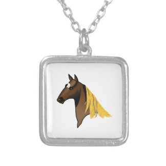 Tennessee Walker Head Square Pendant Necklace