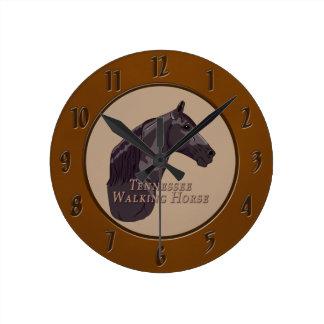 Tennessee Walking Horse Black Round Clock