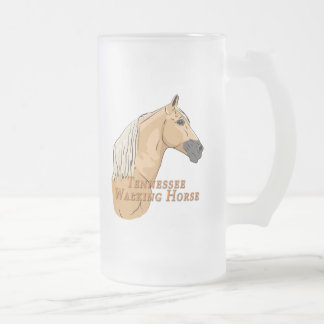 Tennessee Walking Horse Palomino 16 Oz Frosted Glass Beer Mug