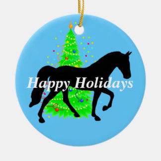 Tennessee Walking Horse Silhouette Happy Holidays Christmas Ornament