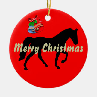 Tennessee Walking Horse Silhouette Merry Christmas Christmas Tree Ornaments